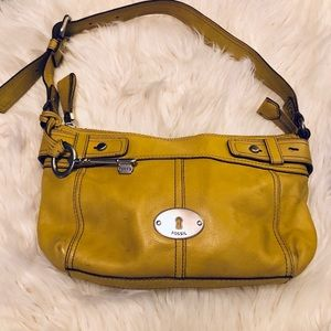 Fossil Yellow Shoulder Bag